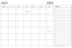 editable 2019 july calendar with notes