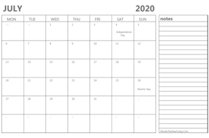 editable july 2020 calendar with holidays and notes