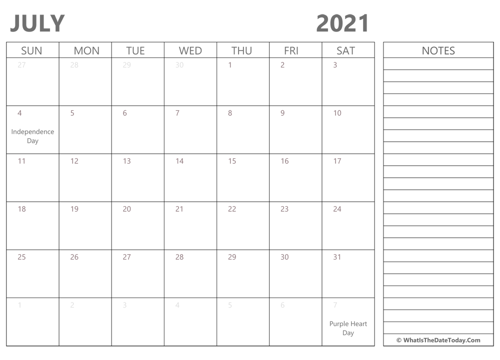 Editable july 2021 Calendar with Holidays and Notes