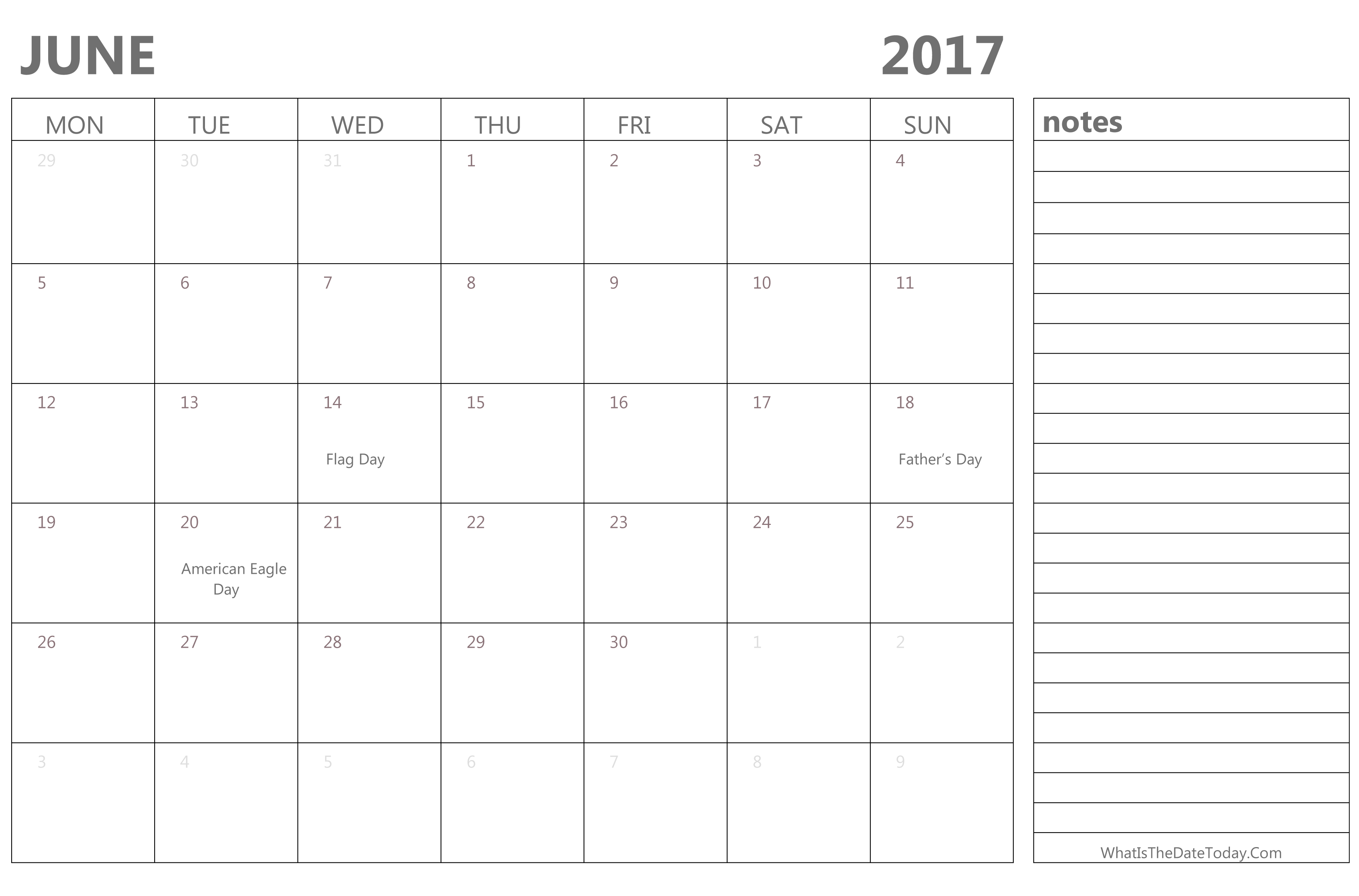 Editable June 2017 Calendar with Holidays and Notes ...
