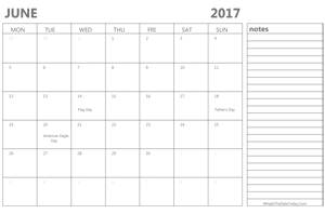 editable 2017 june calendar with notes