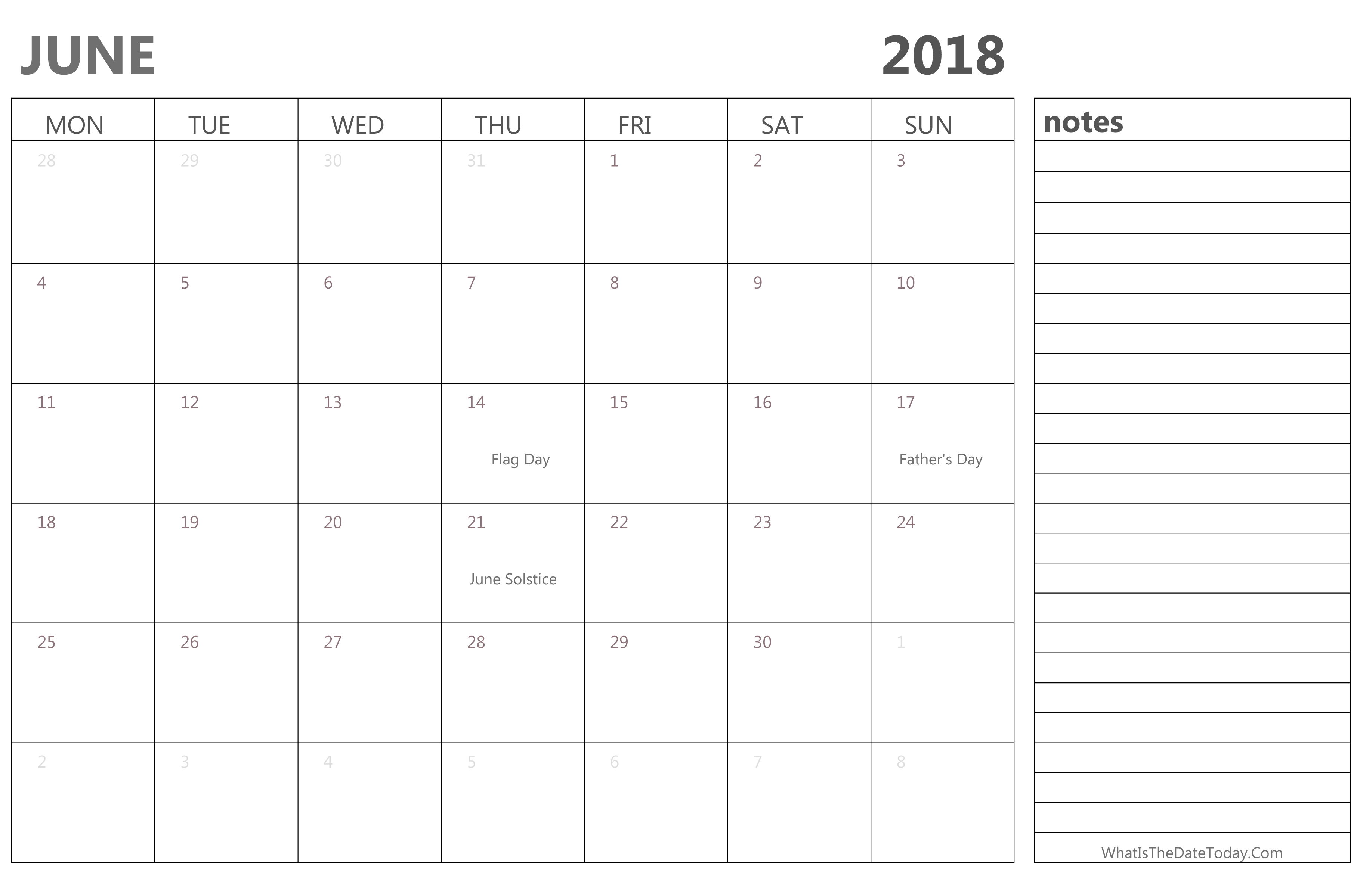 editable june 2018 calendar with holidays and notes