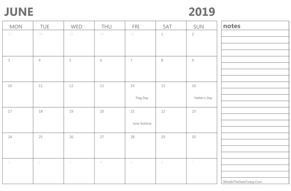June Calendar Editable : Editable june calendar with holidays and notes
