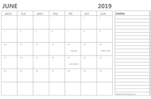 editable june 2019 calendar with holidays and notes