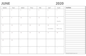 editable 2020 june calendar with notes