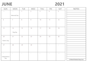 editable 2021 june calendar with notes