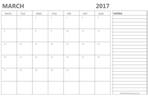 editable march 2017 calendar with holidays and notes