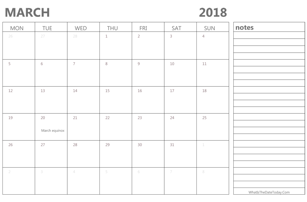Editable March 2018 Calendar with Holidays and Notes