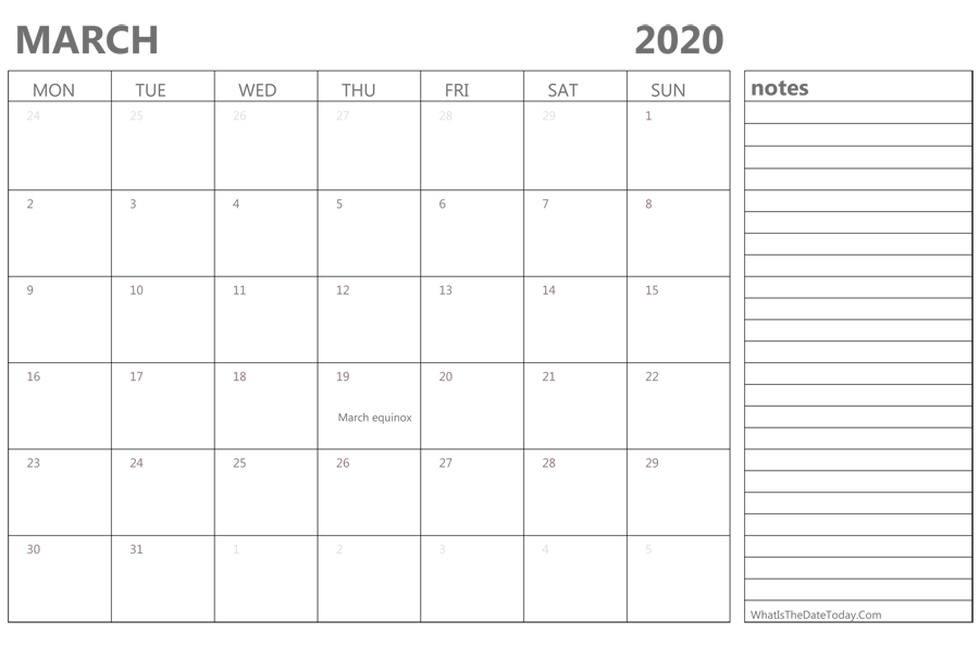 March 2020 Calendar With Holidays Editable March 2020 Calendar with Holidays and Notes