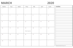 editable march 2020 calendar with holidays and notes