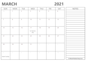 editable march 2021 calendar with holidays and notes