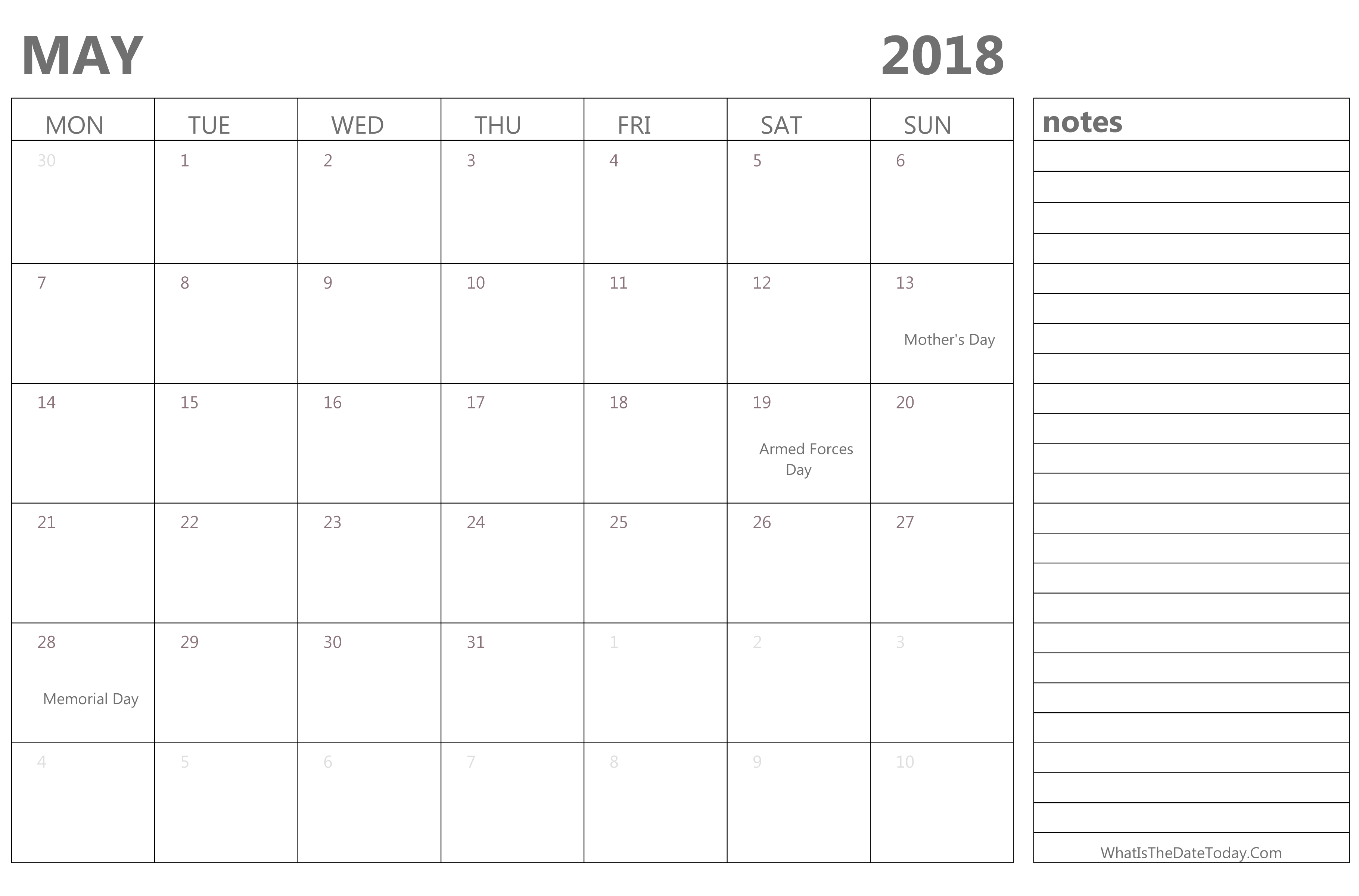 Calendar Girl May Free Pdf : Editable may calendar with holidays and notes