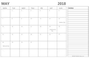 editable may 2018 calendar with holidays and notes