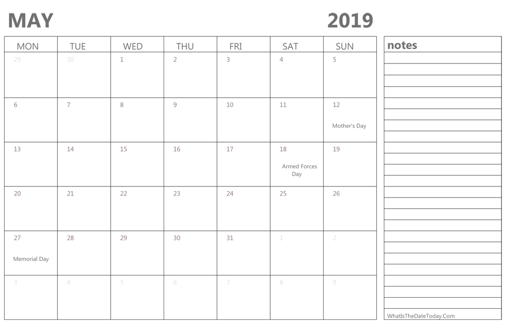 Editable may 2019 Calendar with Holidays and Notes