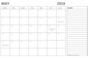 editable 2019 may calendar with notes