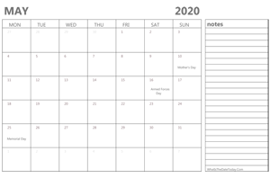 editable 2020 may calendar with notes