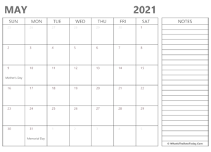 editable may 2021 calendar with holidays and notes