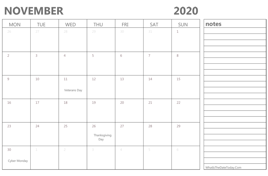 Editable november 2020 Calendar with Holidays and Notes
