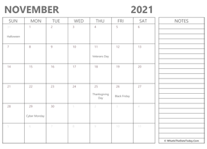 editable november 2021 calendar with holidays and notes