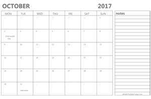 editable october 2017 calendar with holidays and notes