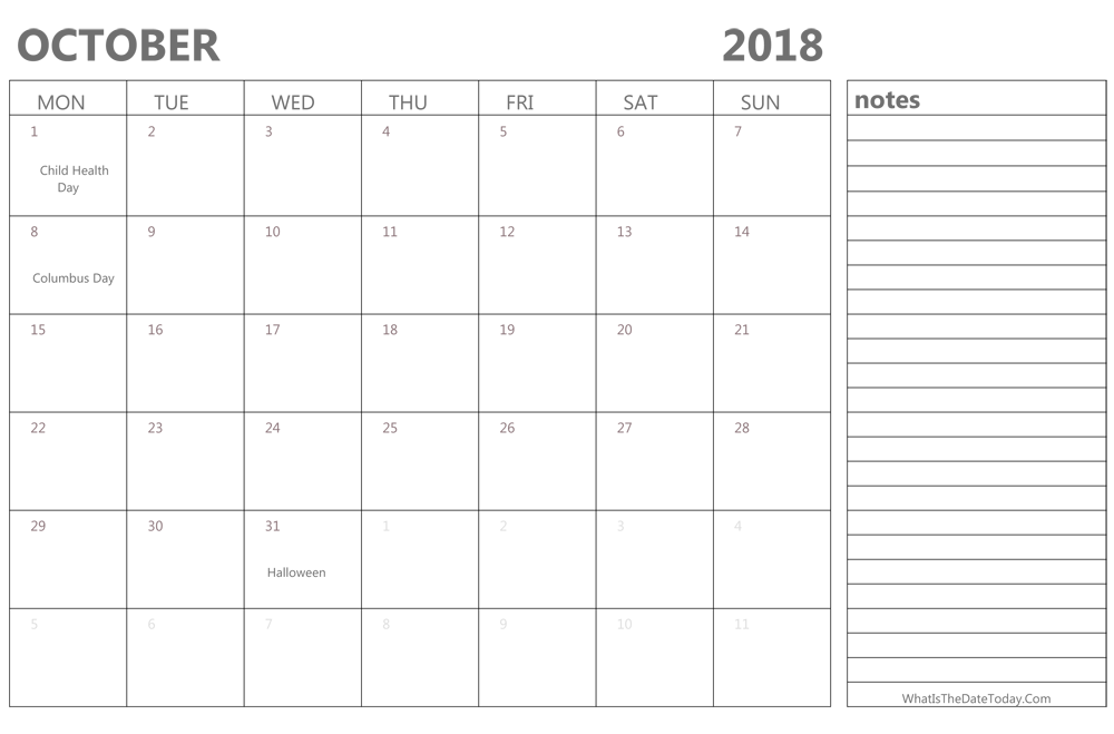 Editable October 2018 Calendar with Holidays and Notes
