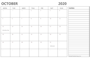 editable october 2020 calendar with holidays and notes
