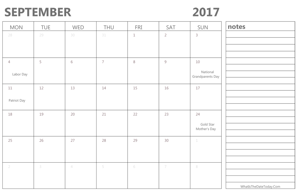 Editable september 2017 Calendar with Holidays and Notes