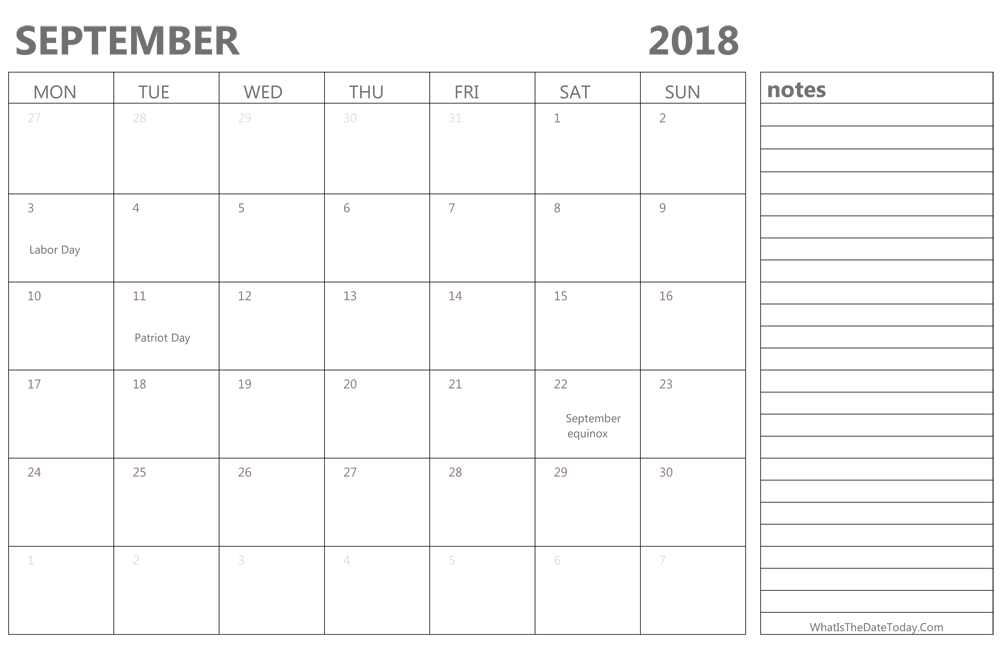 Editable september 2018 Calendar with Holidays and Notes