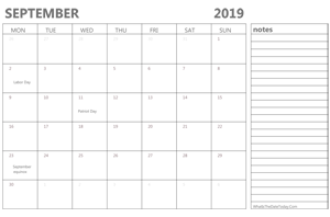 editable september 2019 calendar with holidays and notes