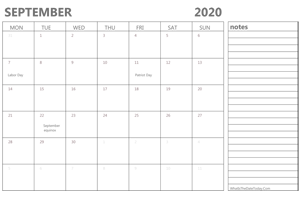 editable september 2020 calendar with holidays and notes
