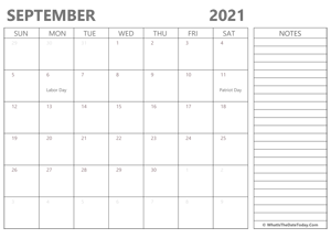 editable september 2021 calendar with holidays and notes