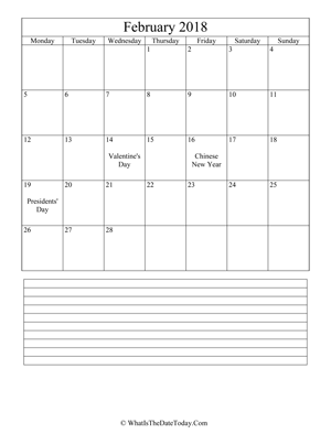 february 2018 calendar editable with notes (vertical)