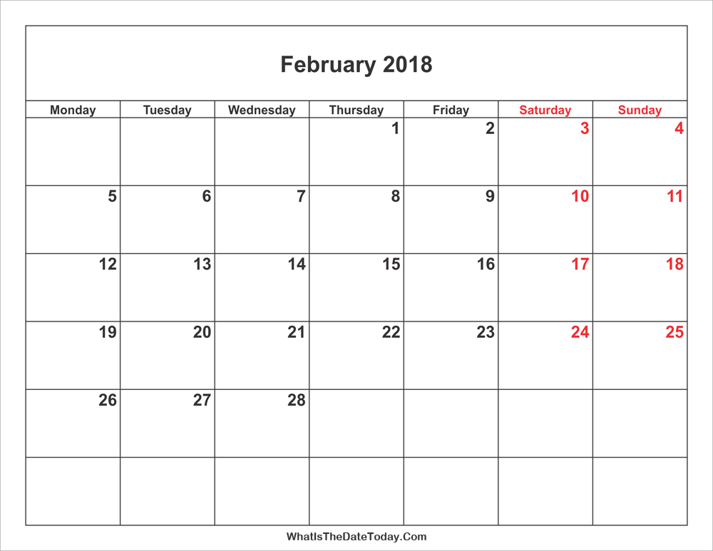 February 2018 Calendar with weekend highlight