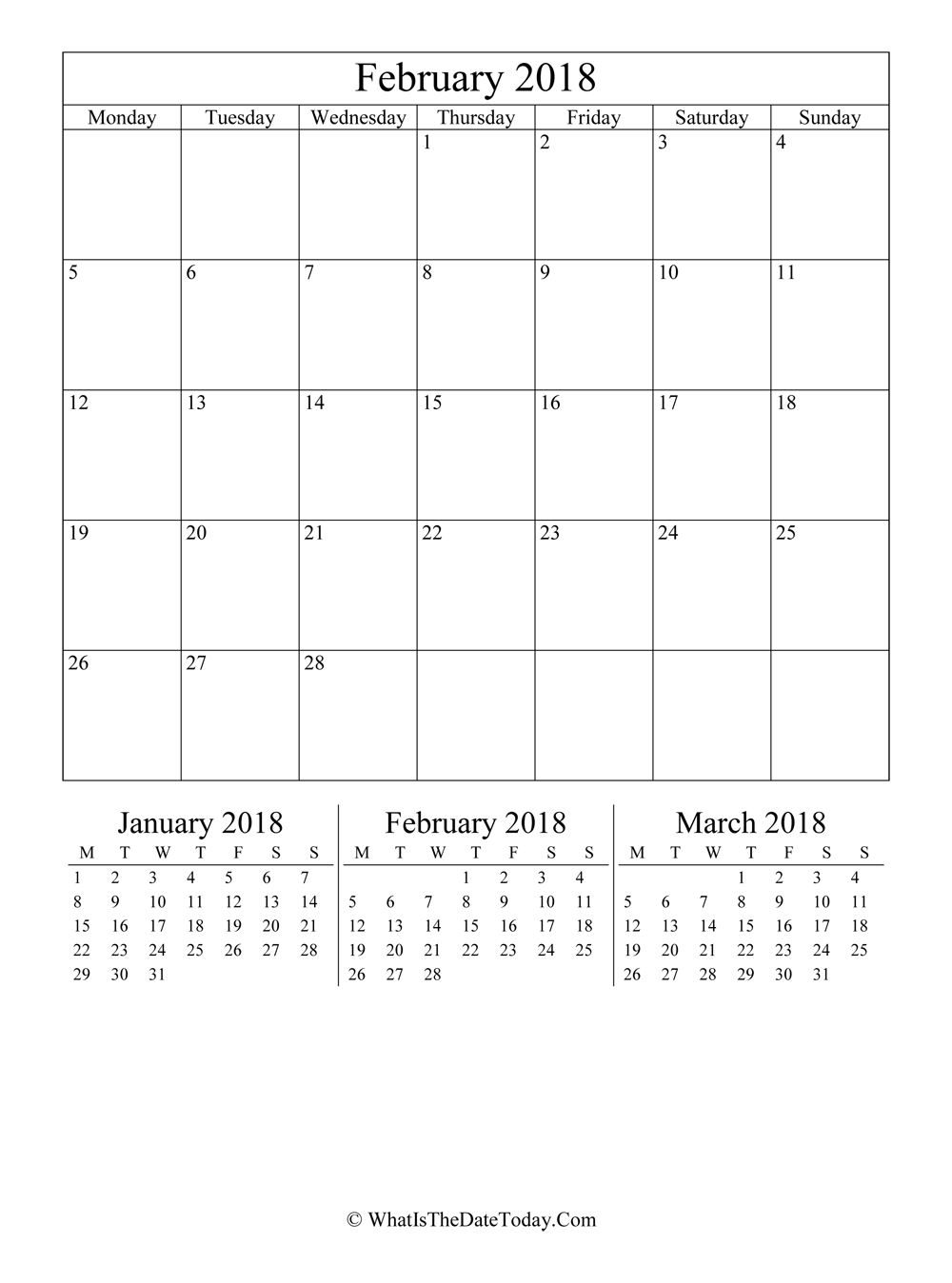 february 2018 editable calendar with three mini calendars in vertical layout