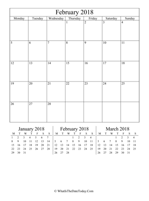 february 2018 editable calendar (vertical) with three mini months