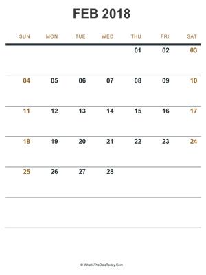 february 2018 editable calendar