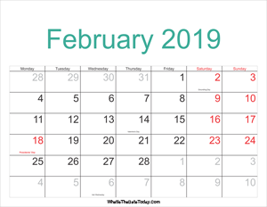 february 2019 calendar printable with holidays