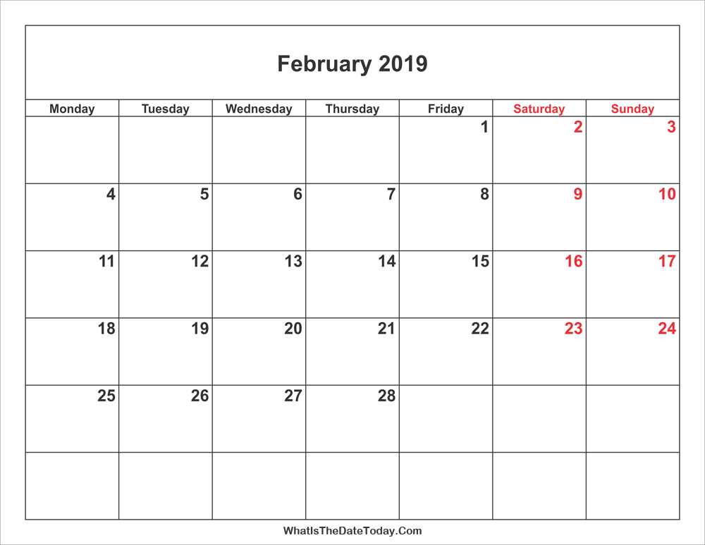February 2019 Calendar with weekend highlight