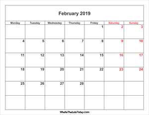 february 2019 calendar weekend highlight