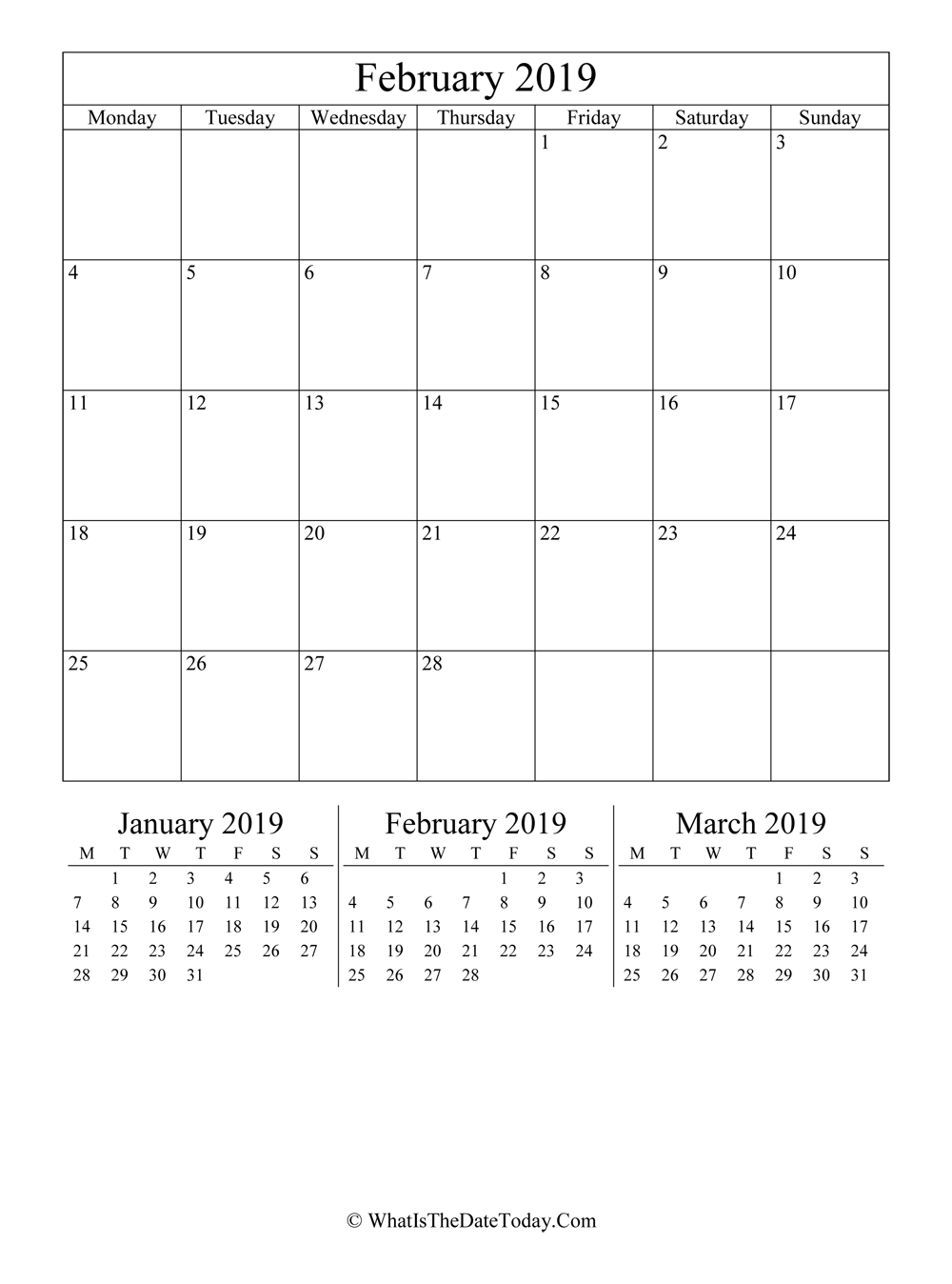 february 2019 editable calendar with three mini calendars in vertical layout