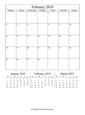 february 2019 editable calendar (vertical) with three mini months