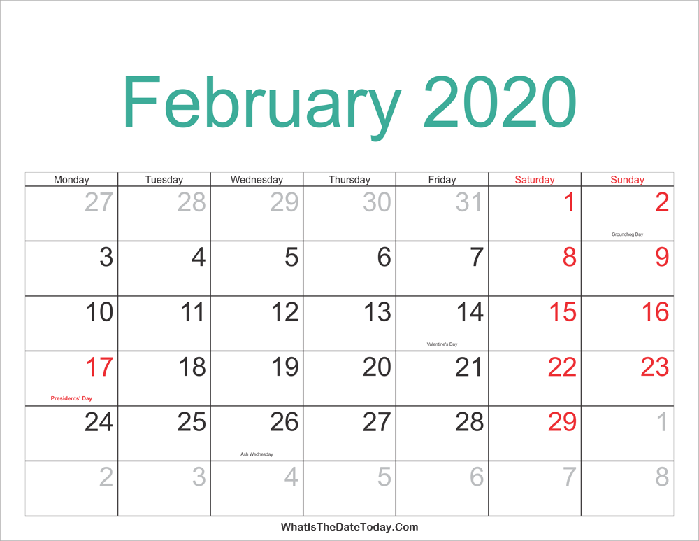 February Calendar 2020 With Holidays February 2020 Calendar Printable with Holidays