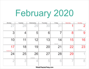 february 2020 calendar printable with holidays