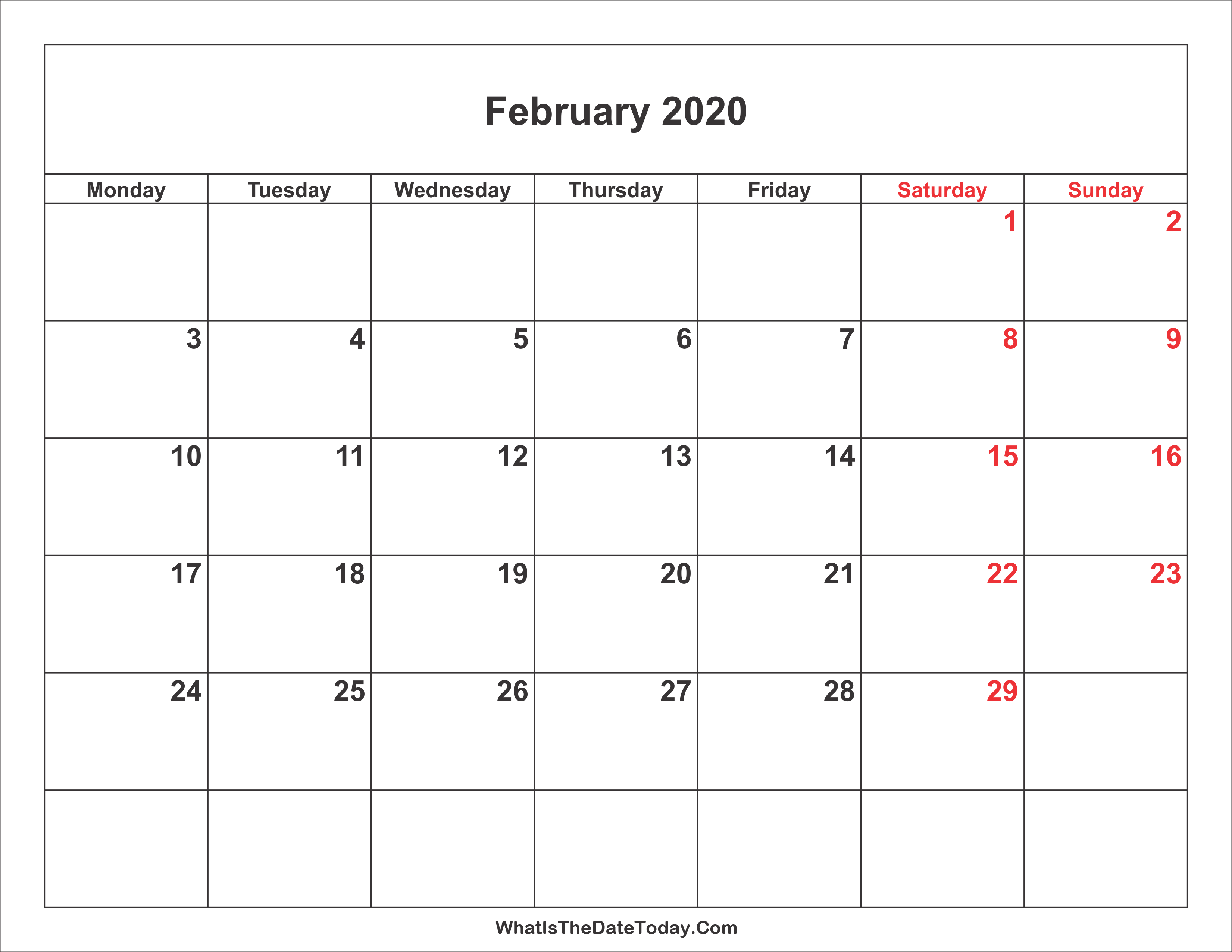 Weekend Calendar 2020 February 2020 Calendar with Weekend Highlight | Whatisthedatetoday.Com