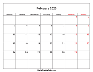 february 2020 calendar weekend highlight