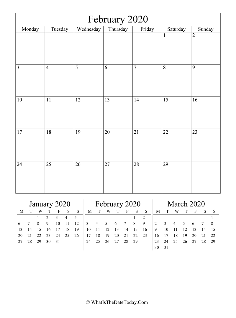 february 2020 editable calendar with three mini calendars in vertical layout