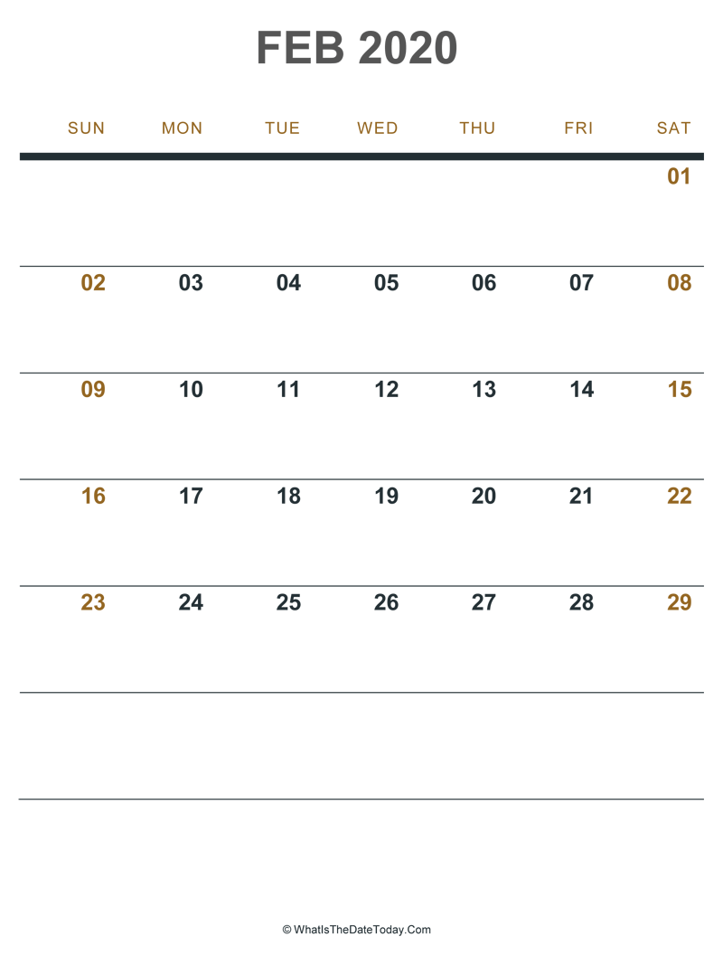 2020 February Calendar Portrait Monday Start February 2020 Printable Calendar (Portrait Layout
