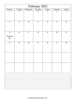 february 2021 calendar editable with notes (vertical)