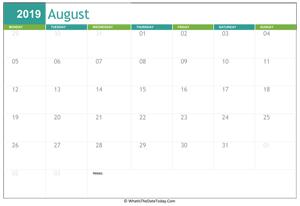 Printable Calendar August 2019 Whatisthedatetoday Com