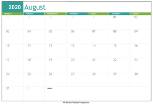 fillable august calendar 2020